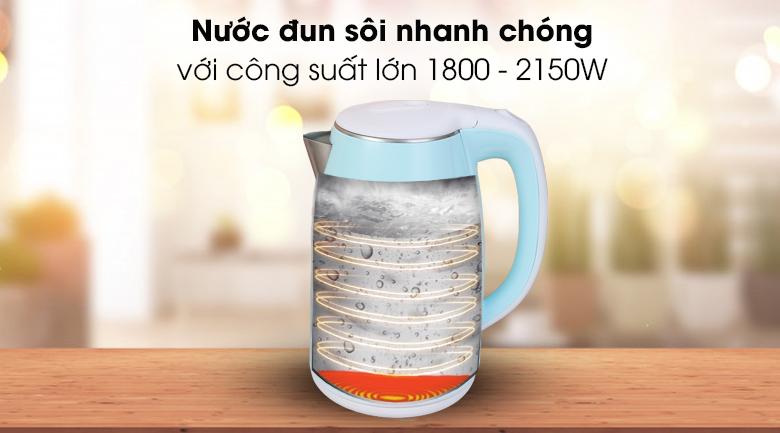 Bình đun siêu tốc Hommy 1.7 lít D1017 - Nước đun sôi nhanh chóng, chỉ trong 5 - 7 phút với công suất lớn 1800 - 2150W