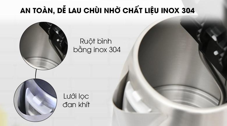 Chất liệu inox 304 - Bình đun siêu tốc Kangaroo 1.7 lít KG642