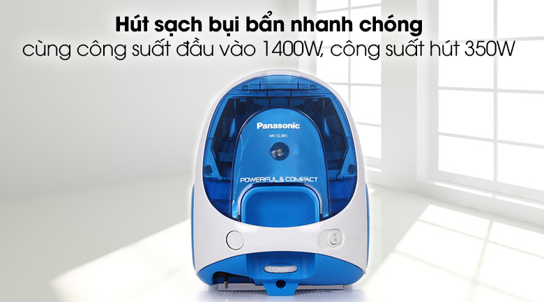 Máy hút bụi Panasonic MC-CL305BN46 1400 W - Máy hút bụi công suất đầu vào 1400W, tạo công suất hút 350W