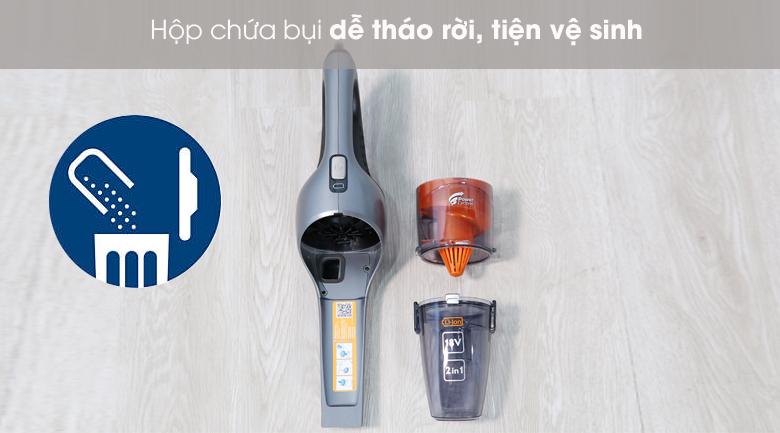 Hộp chứa bụi dễ tháo rời - Máy hút bụi cầm tay Philips FC6168/01