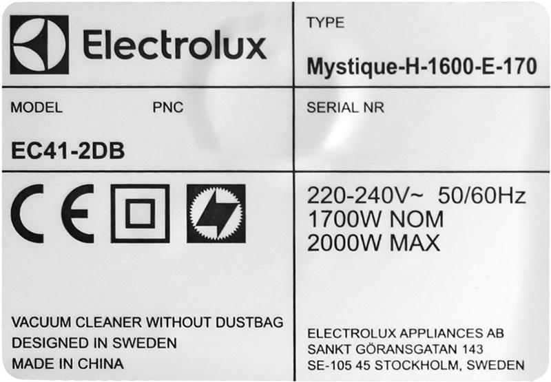 Công suất mạnh mẽ 2000 W - Máy hút bụi Electrolux EC41-2DB 2000W