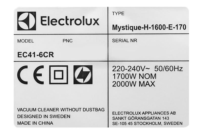 Công suất  - Máy hút bụi Electrolux EC41-6CR