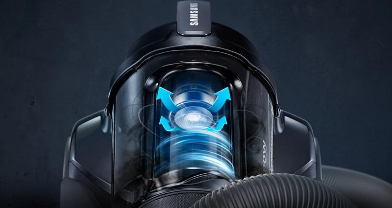 Công suất 1500 W, công nghệ hút xoáy Cyclone Force và Anti-tangle Turbine - chống tắc nghẽn cho lực hút mạnh mẽ - Máy hút bụi Samsung VC15K4130VL/SV-N 1500W