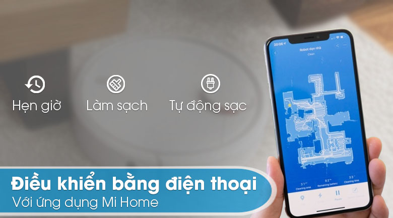 Điều khiển qua ứng dụng Mihome - Robot hút bụi Xiaomi Vacuum Mop SKV4093GL