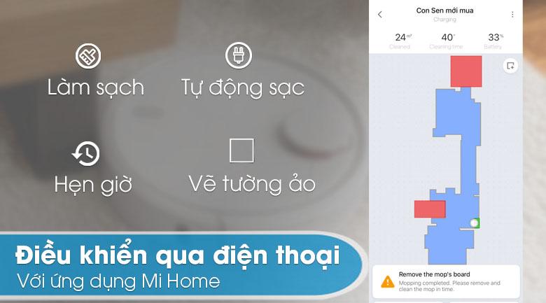 Điều khiển qua ứng dụng - Robot hút bụi Xiaomi Vacuum Mop SKV4093GL