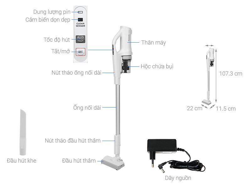 Thông số kỹ thuật Máy hút bụi không dây Panasonic MC-SB30JW049