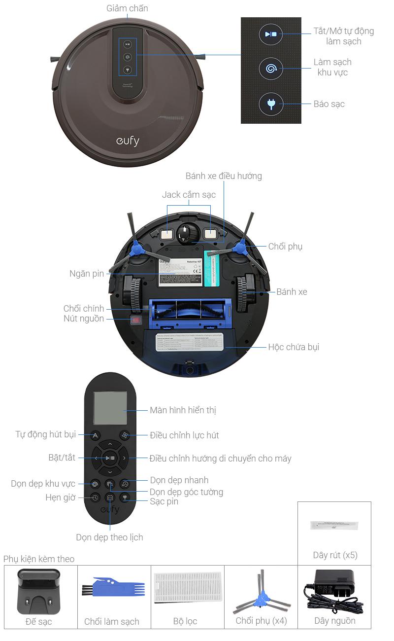Thông số kỹ thuật Robot hút bụi Eufy Robovac 15T - T2115 Nâu