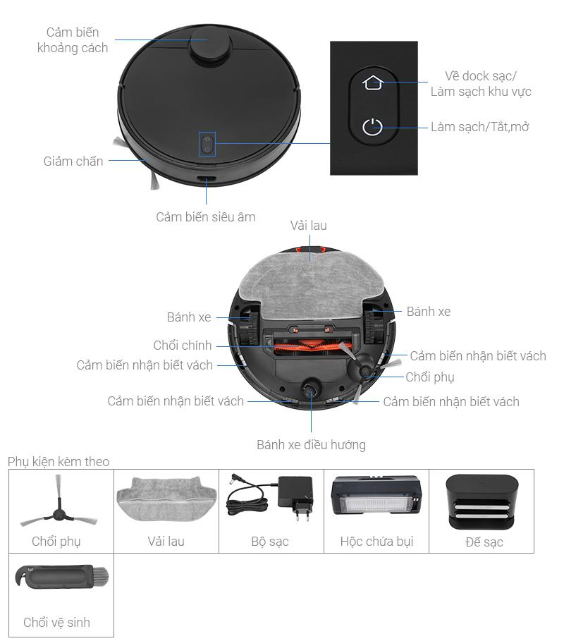 Thông số kỹ thuật Robot hút bụi Xiaomi Vacuum Mop Pro SKV4109GL