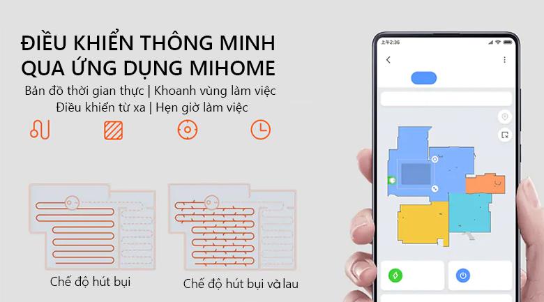 Điều khiển qua ứng dụng thông minh - Robot hút bụi Xiaomi Vacuum Mop Pro SKV4109GL