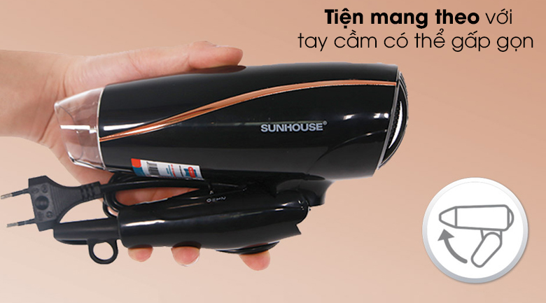 Máy sấy tóc Sunhouse SHD2306 - Tay cầm máy sấy tóc có thể gấp gọn