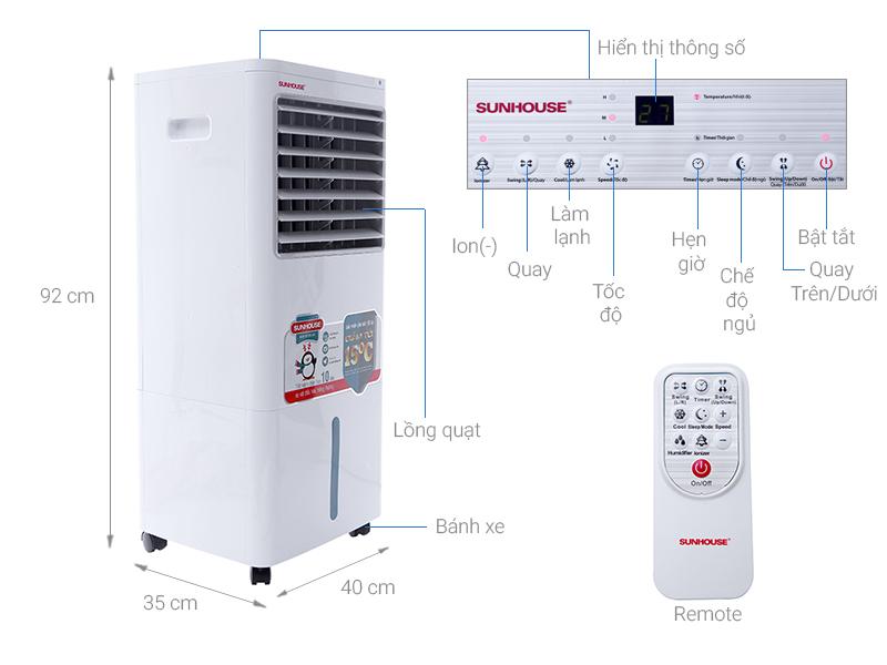 Thông số kỹ thuật Máy làm mát không khí Sunhouse SHD7720