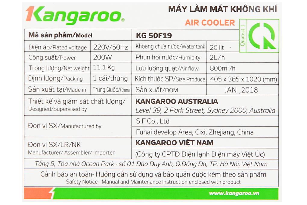 Công suất 200 W tạo hơi nước làm dịu không khí hiệu quả - Quạt điều hòa Kangaroo KG50F19