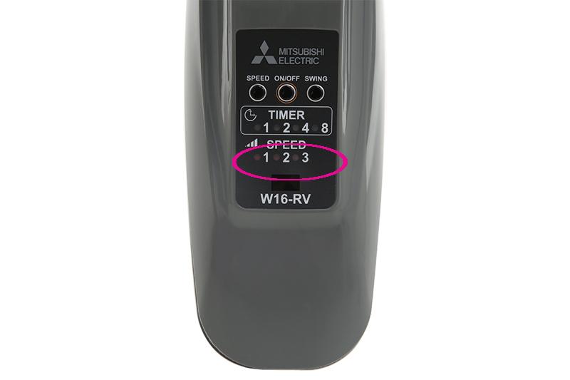 3 tốc độ gió - Quạt treo Mitsubishi W16-RV CY-GY xám đậm
