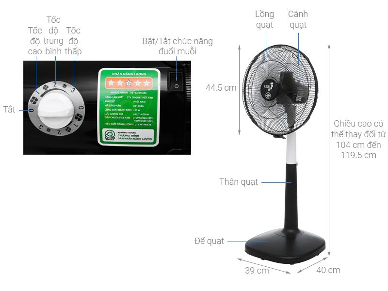 Thông số kỹ thuật Quạt đứng Asia D16026-DV0
