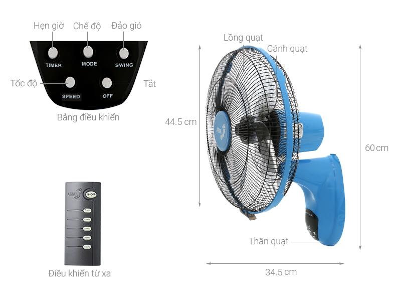 Thông số kỹ thuật Quạt treo tường xanh lam Asia L16022-BV1