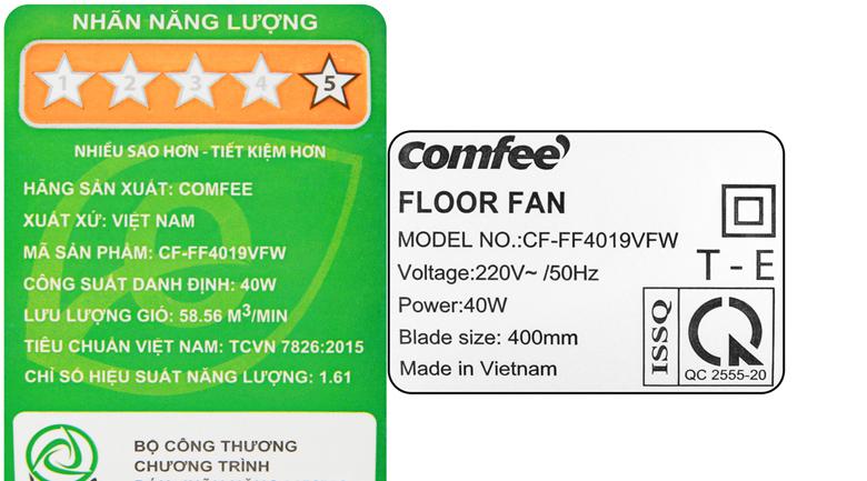 Tiết kiệm điện - Quạt lửng Comfee CF-FF4019VFW Trắng