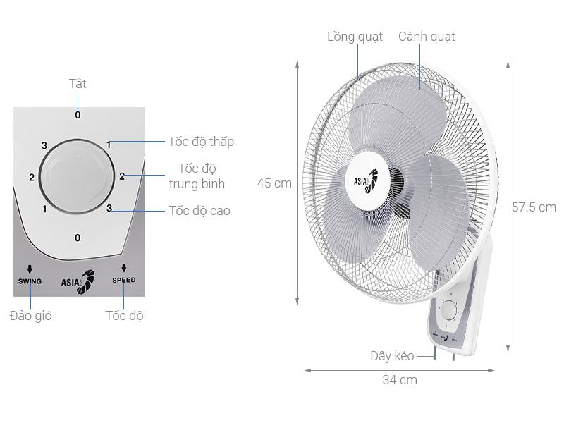 Quạt treo Asia L16018-TV0 Trắng - chính hãng, giá tốt | Điện máy XANH
