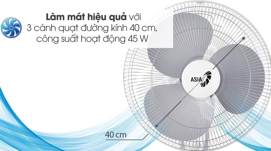 Làm mát tốt - Quạt treo Asia L16018-TV0 Trắng
