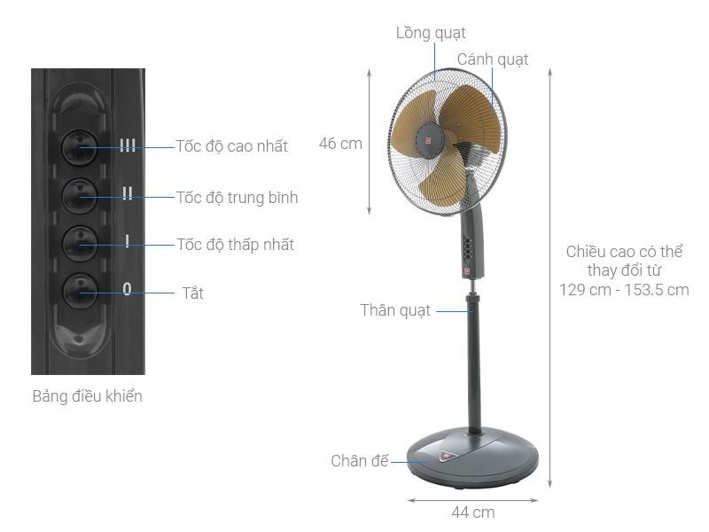 Thông số kỹ thuật Quạt đứng KDK P40U