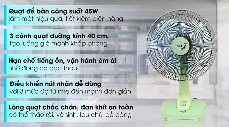 Quạt bàn Asia B16017 Xanh lá