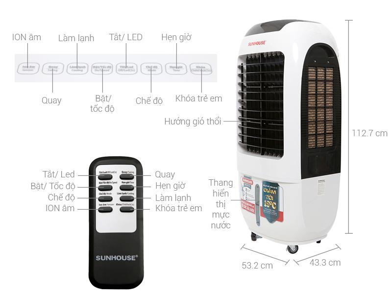 Thông số kỹ thuật Quạt điều hòa không khí Sunhouse SHD7730