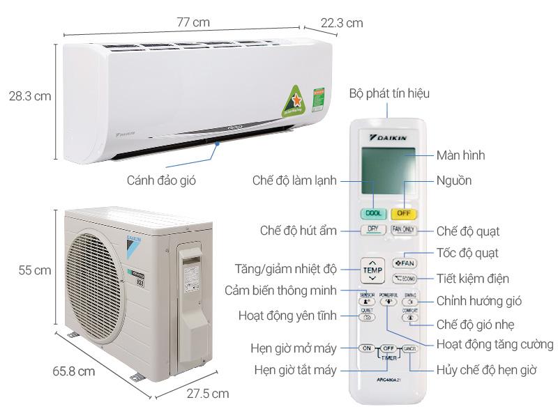 Thông số kỹ thuật Máy lạnh Daikin Inverter 1 HP FTKC25RVMV