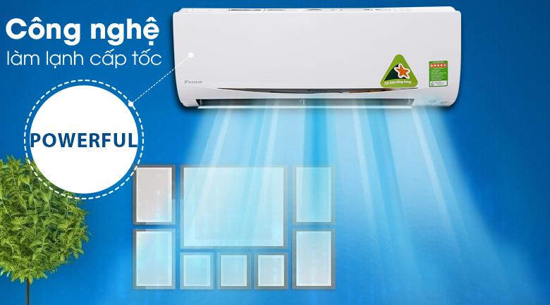 Làm lạnh nhanh Powerful - Máy lạnh Daikin Inverter 1 HP FTKC25RVMV