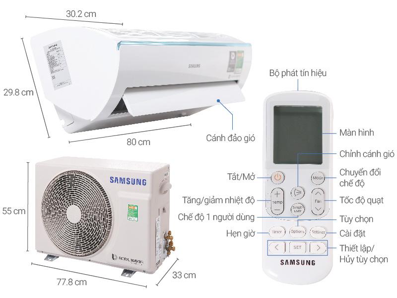 Thông số kỹ thuật Máy lạnh Samsung Inverter 1 HP AR10MVFSCURNSV
