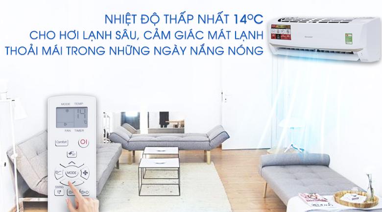 Nhiệt độ thấp nhất 14 độ C - Máy lạnh Sharp 1 HP AH-A9UEW