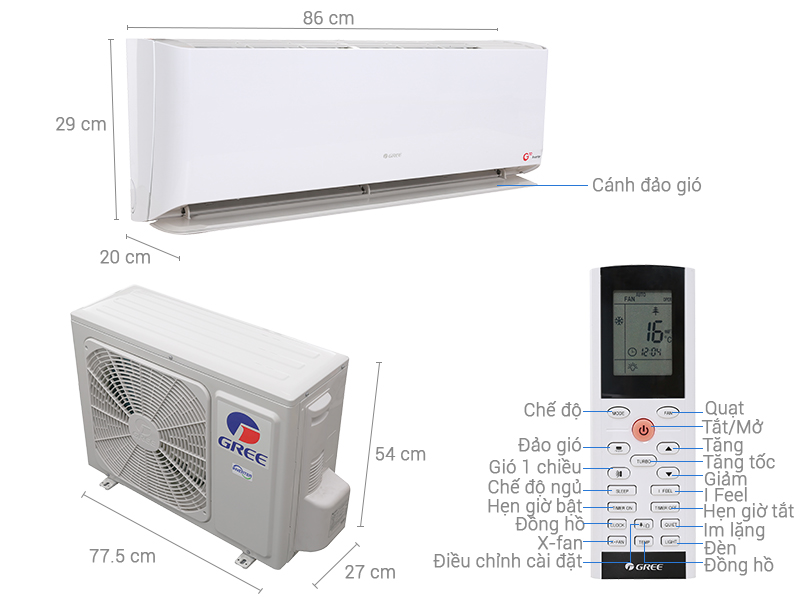 Thông số kỹ thuật Máy lạnh treo tường Gree GWC09GB-K3DNC1A Gas R410 1HP Inverter