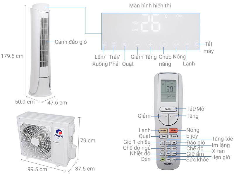 Thông số kỹ thuật Máy lạnh tủ đứng Gree inverter 2.5 HP GVH24AK-S3DTC5A