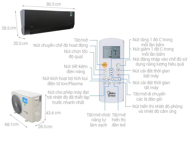 Thông số kỹ thuật Điều hòa Midea Inverter Wifi 9000 BTU MSVP-10CRDN1