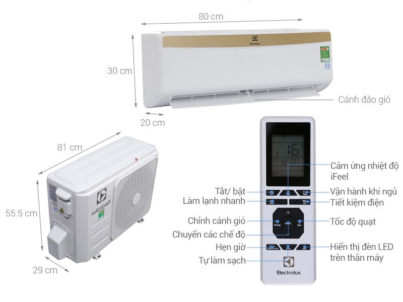 Thông số kỹ thuật Máy lạnh Electrolux 1HP ESM09CRM-A1