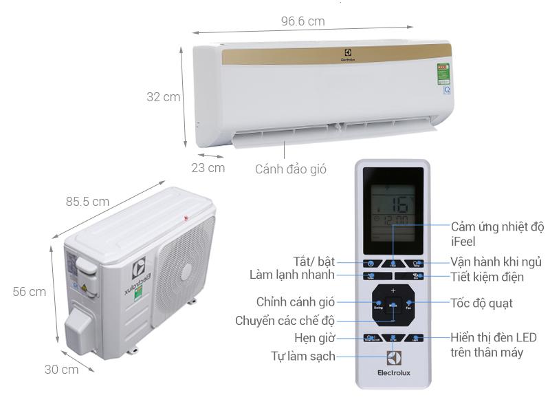 Thông số kỹ thuật Máy lạnh Electrolux 1.5HP ESM12CRM-A1