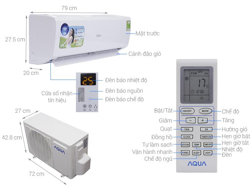 Thông số kỹ thuật Máy lạnh AQUA 1 HP AQA-KCR9JA