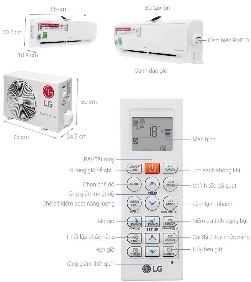 Thông số kỹ thuật Máy lạnh LG Wifi Inverter 1 HP V10APF