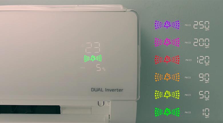 Màn hình hiển thị chất lượng trong không khí - Máy lạnh LG Wifi Inverter 1.5 HP V13APF