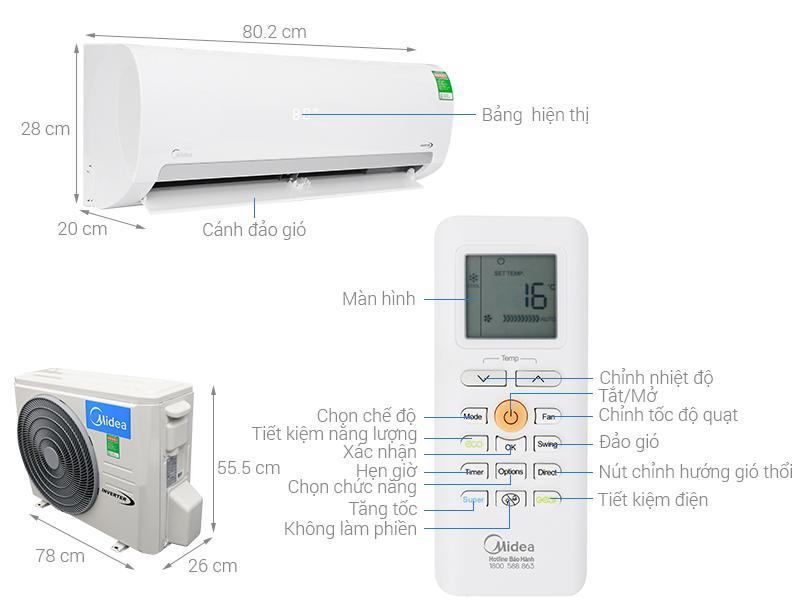 Thông số kỹ thuật Máy lạnh Midea Inverter 1.5 HP MSMAIII-13CRDN1