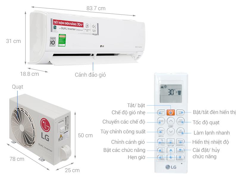 Thông số kỹ thuật Máy lạnh LG Wifi Inverter 1 HP V10API