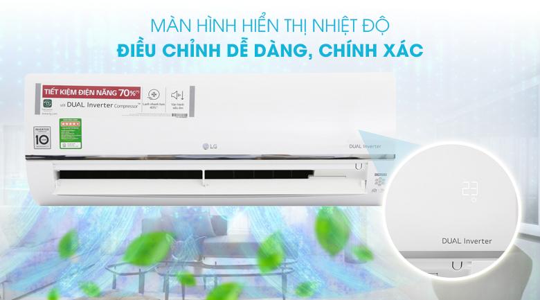 Máy lạnh LG Wifi Inverter 1 HP V10API - Màn hình hiển thị nhiệt độ