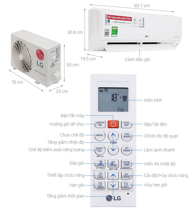 Thông số kỹ thuật Máy lạnh LG Wifi Inverter 1.5 HP V13API