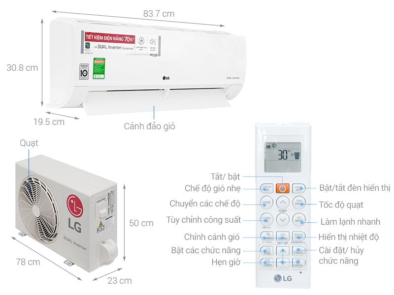Thông số kỹ thuật Máy lạnh LG Inverter 1 HP V10ENF