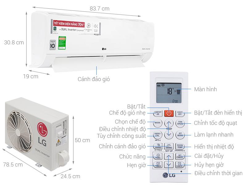 Thông số kỹ thuật Máy lạnh LG Inverter 1.5 HP V13ENF