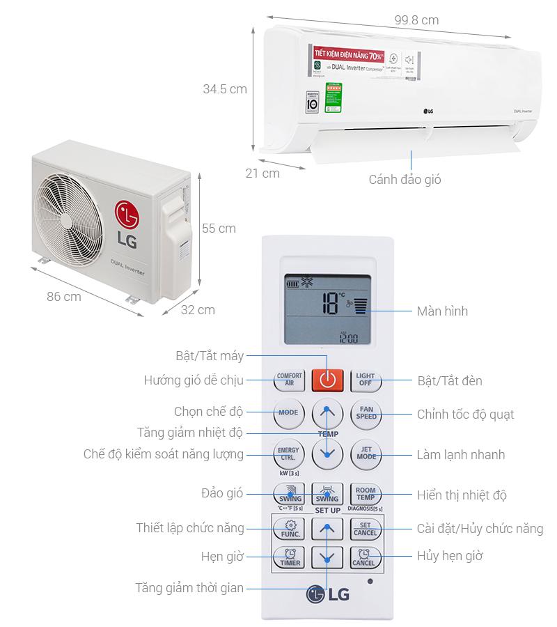 Thông số kỹ thuật Máy lạnh LG Inverter 2 HP V18ENF