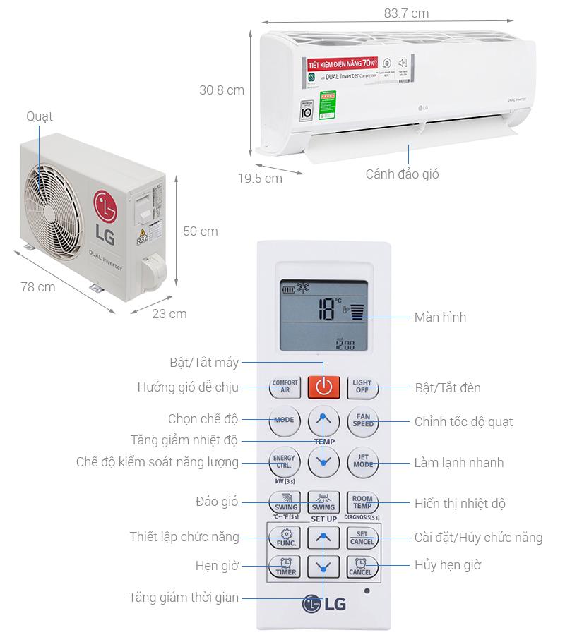 Thông số kỹ thuật Điều hòa LG Inverter 12000 BTU V13ENS