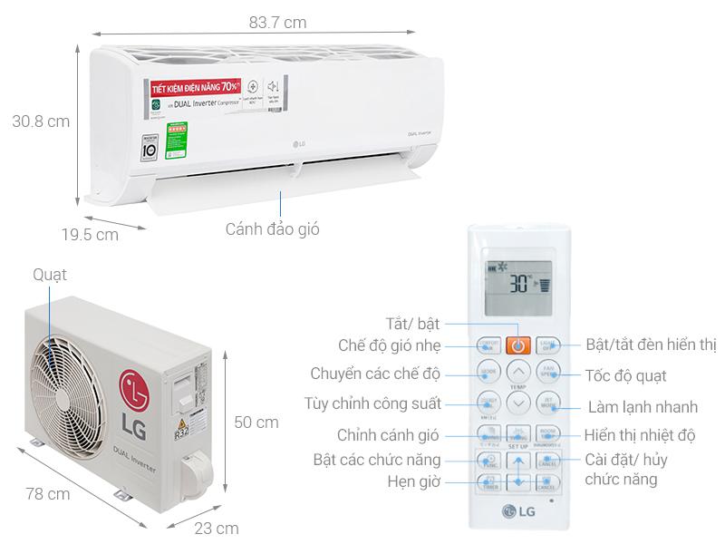Thông số kỹ thuật Máy lạnh LG Inverter 1.5 HP V13ENS