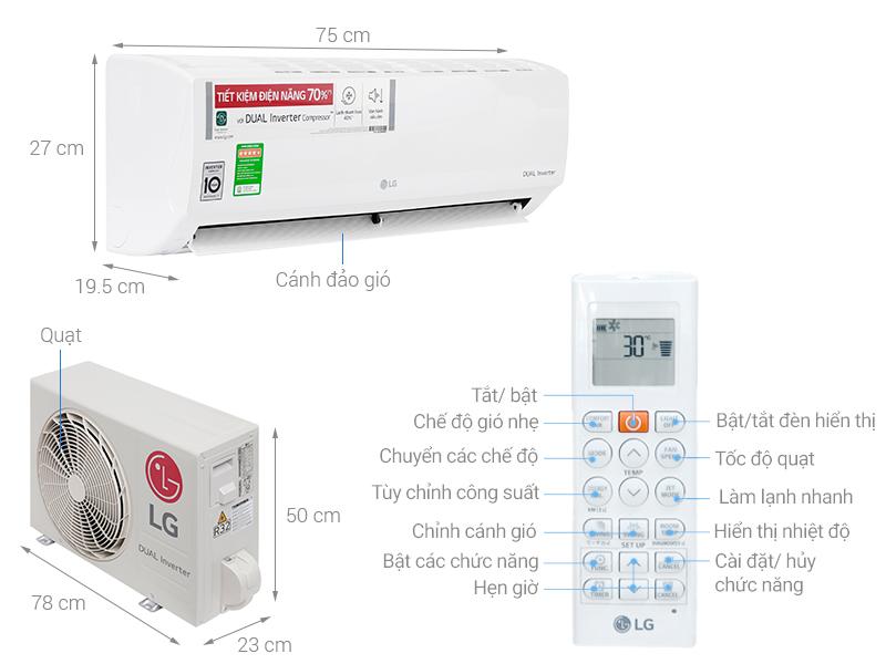 Thông số kỹ thuật Máy lạnh LG Inverter 1 HP V10ENV