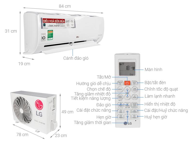 Thông số kỹ thuật Điều hòa 2 chiều LG Inverter 9200 BTU B10END