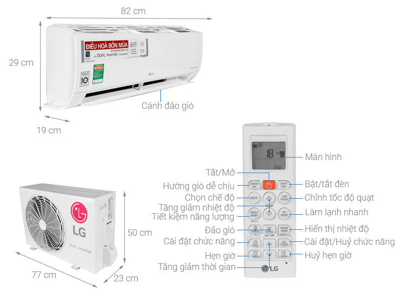 Thông số kỹ thuật Máy lạnh 2 chiều LG Inverter 1.5 HP B13END