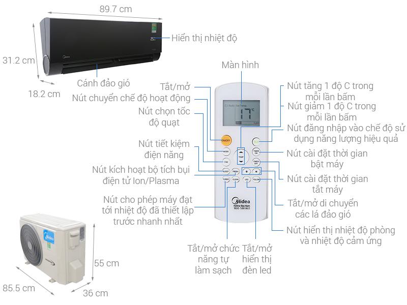 Thông số kỹ thuật Máy lạnh Midea Inverter Wifi 1.5 HP MSVP-13CRDN1